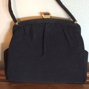 ~Black~ Vintage Evening With Bag Red Silk Lining